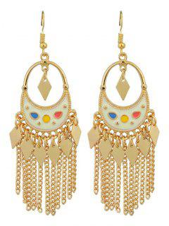 Chain Rhombus Fringed Hook Drop Earrings