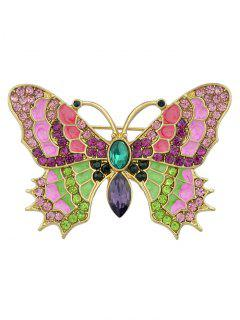 Colorful Rhinestone Inlaid Metal Butterfly Brooch