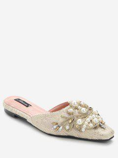 Rhinestone Lace Embellished Mules Shoes - Apricot 36