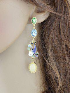 Fish Design Ellipse Faux Crystal Long Drop Earrings - Golden