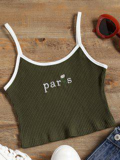 Embroidered Ribbed Crop Cami Top - Army Green