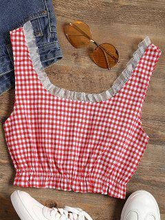 Frilled Gingham Check Crop Top - Red S