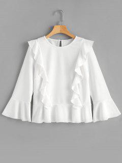 Rüschen-Aufflackern-Hülsen-Bluse - Weiß L