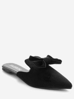 Pointy Toe Backless Loafers - Black 37