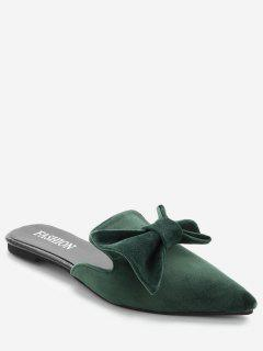 Pointy Toe Backless Loafers - Green 36