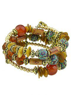 Faux Agate Bead Flower Print Layered Bracelet Set - Red