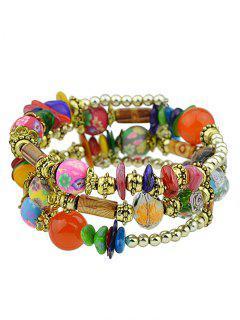 Faux Agate Bead Flower Print Layered Bracelet Set
