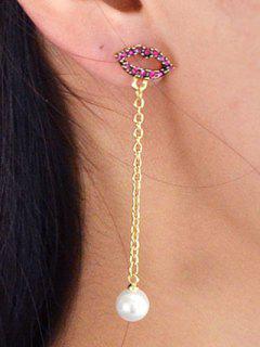 Pendientes Colgantes De Cadena Larga De Diamantes De Imitación De Perlas De Imitación - Dorado
