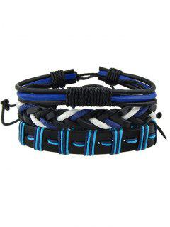 Multi-Layered Handmade Faux Leather Woven Bracelet Set - Blue