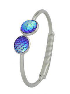 Metal Round Dragon Scale Open Bracelet - Purple