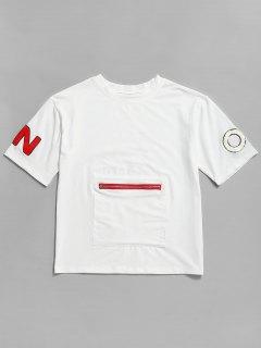 T-shirt Graphique à Manches Courtes - Blanc 2xl