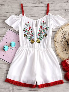 Floral Cold Shoulder Chiffon Romper - White L