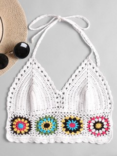 Halter Crochet Bralette Top - White