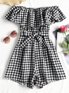 Gingham Belted Off The Shoulder Romper - Checked Xl