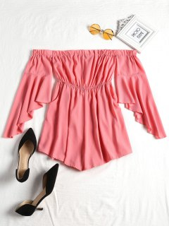 Dramatic Sleeves Off The Shoulder Romper - Pink Xl