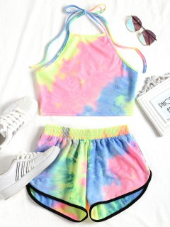 Tie Dyed Crop Top And Shorts Set - Yellow And Blue M