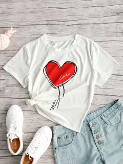 Short Sleeve Heart Valentine T-shirt - White M