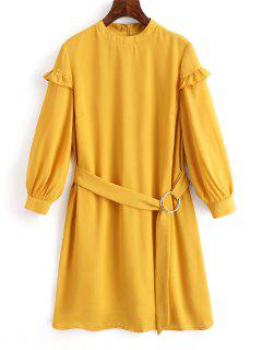 High Neck Belted Shift Dress - Mustard M