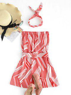 Striped Belted Strapless Dress With Headband - Red M