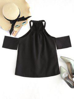Square Collar Cold Shoulder Blouse - Black L