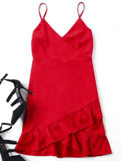 Flounce Cami Strap Mini Dress - Red S