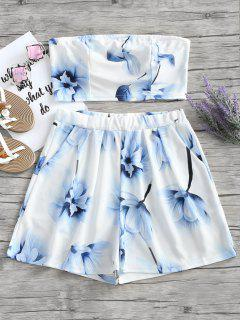 Floral Bandeau Top And Shorts Set - White L