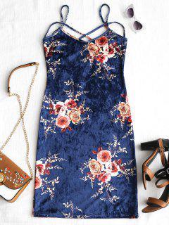 Floral Pattern Velvet Cami Dress - Floral M