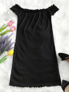 Vestido Ajustado De Lechuga Con Hombros Descubiertos - Negro Xl