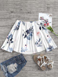 Estampado De Flores De La Blusa Del Hombro - Blanco L