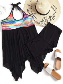 Handkerchief Hem Mesh Plus Size Tankini Set - Black 4xl