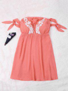 Tie Mini Off Shoulder Dress - Watermelon Red L