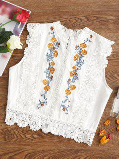 Floral Patched Lacework Sleeveless Blouse - White M