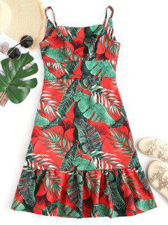 Leaves Print Open Back Cami Dress - Red And Green S