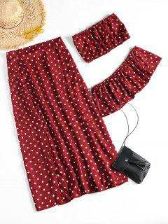 Off Shoulder Polka Dot Slit Skirt Set - Wine Red M