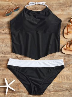 Halter Padded Plus Size Tankini Set - Black 2xl
