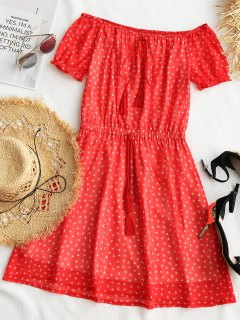 Printed Tassels Off Shoulder Mini Dress - Red L