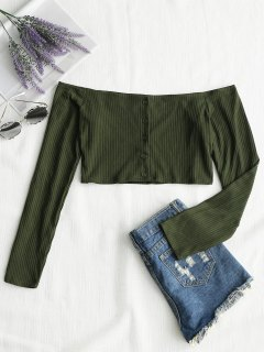 Ribbed Button Up Off Shoulder Top - Army Green L