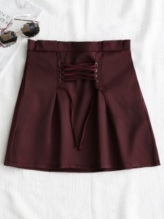 Corset Lace Up Mini Skirt - Wine Red L