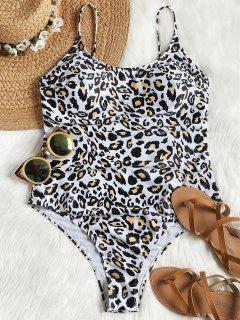 Leopard High Cut Plus Size Swimsuit - Leopard Print Pattern Xl