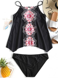 Mandala Print Plus Size Tankini Set - Black 2xl