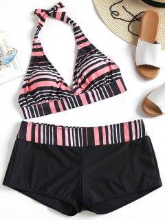 Striped Halter Plus Size Bikini Set - Stripe 3xl