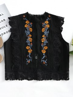 Floral Patched Lacework Sleeveless Blouse - Black M