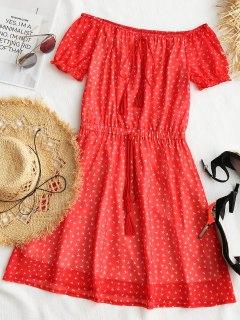 Printed Tassels Off Shoulder Mini Dress - Red M