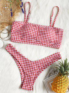 Cut Out Checked Swim Bra And High Leg Bottoms - Red With White S