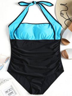 Color Block Halter Plus Size Swimsuit - Blue And Black 3xl