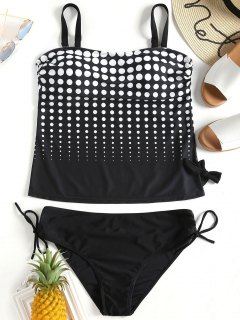 Dotted Plus Size Tankini Set - Black 3xl