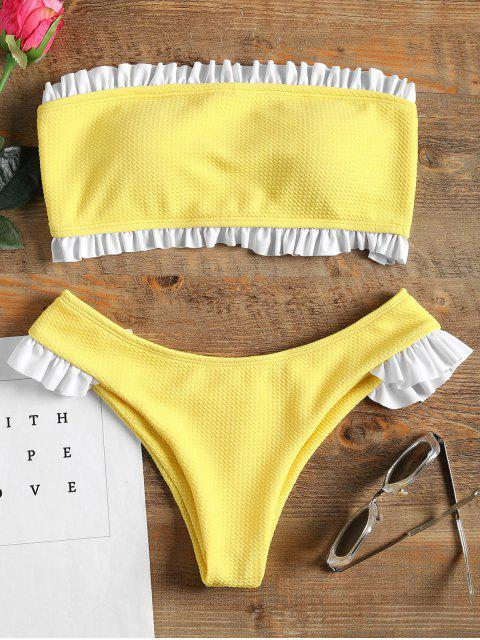 Rüschen Bandeau Bikini Set - Gelb S Mobile