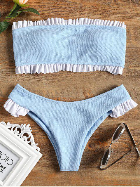 Rüschen Bandeau Bikini Set - Helles Blau M Mobile