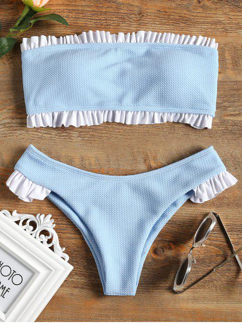 Rüschen Bandeau Bikini Set - Helles Blau S Mobile