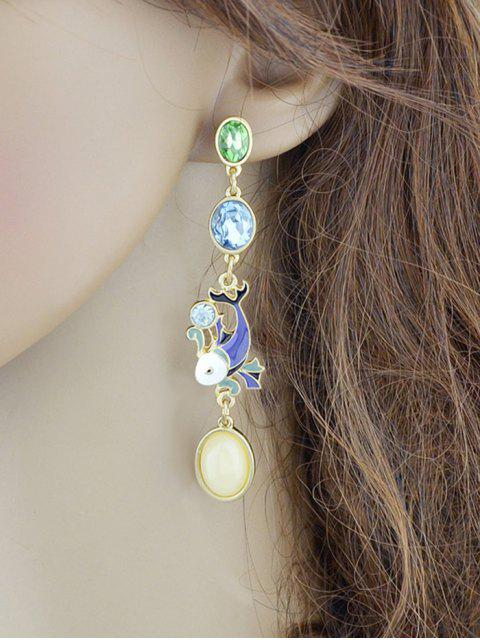 best Fish Design Ellipse Faux Crystal Long Drop Earrings - GOLDEN  Mobile